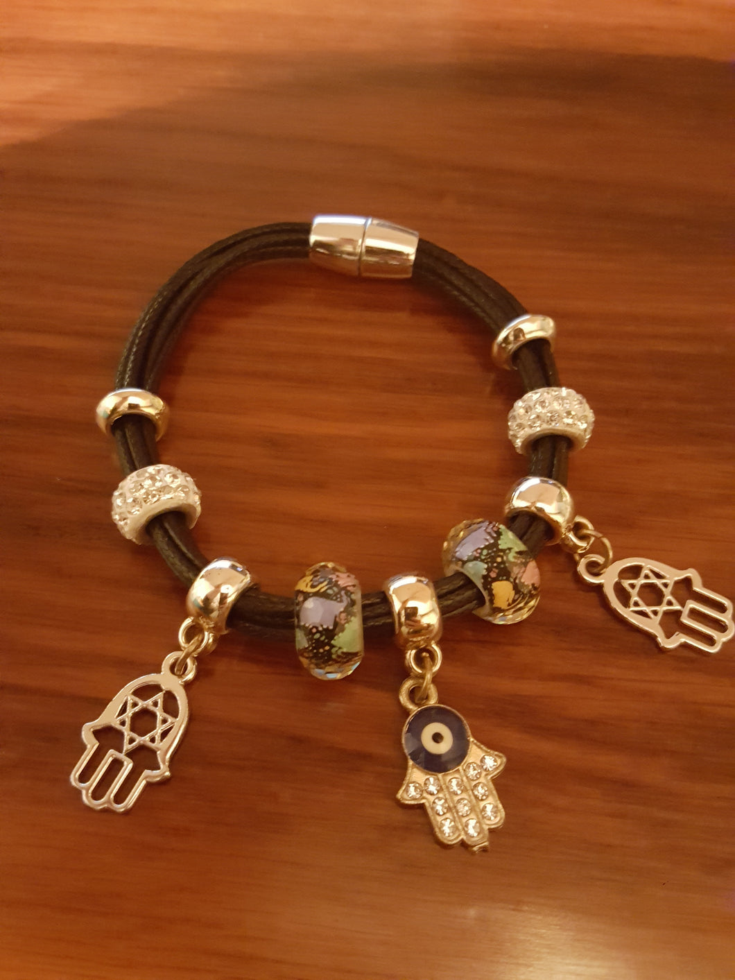 Multi-Strand, Black Corded, Faux Leather Bracelet With Hamsa Charms & Multi-Colored Lucky Elephant Beading