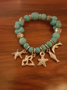 Coastal Beaded Bracelets With Sterling Silver Plated Sea Life Charms