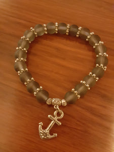 Olive Green Beaded Bracelet With Silver Plated Anchor Charm