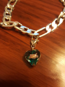 925 Sterling Silver Link Bracelet With Multi-Colored, Wire Wrapped, Floral, Heart Dangle Charms