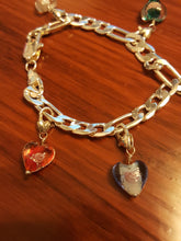 Load image into Gallery viewer, 925 Sterling Silver Link Bracelet With Multi-Colored, Wire Wrapped, Floral, Heart Dangle Charms