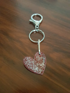 Hand Made With Love~ Red Faux Suede With Silver Glitter Heart Key Chain
