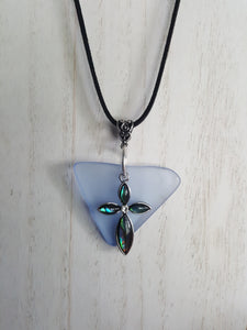 Soft Blue, Triangular Sea Glass Pendant With Opalescent Cross