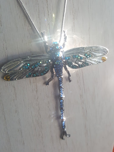 Multi-Colored, Gemstone Dragon Fly Pendant