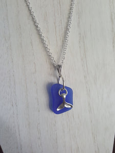 Custom~ Cobalt Blue, Authentic Sea Glass Pendant With Silver Whale Tail