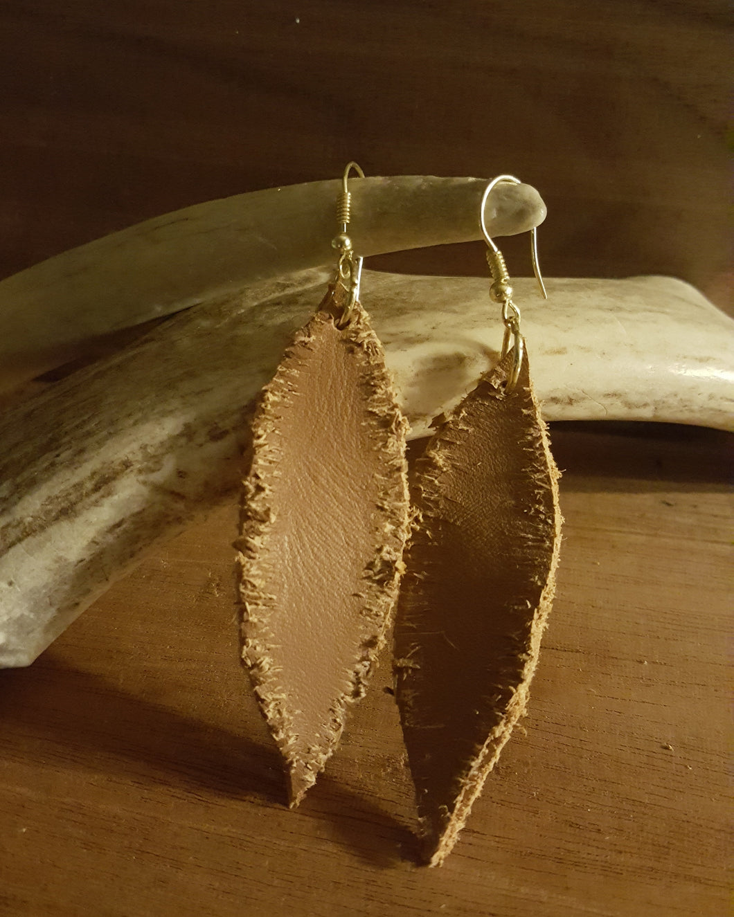 Camel Color, Genuine Leather Feather Earrings~Fringed (Handcut)