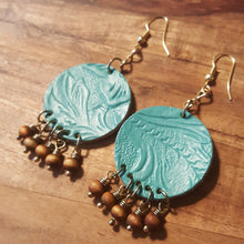 Load image into Gallery viewer, Turquoise Blue Color ~ Flower Embossed Leather Earrings
