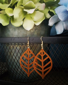 Faux Suede~Waffle Cut Leaf Style Earrings