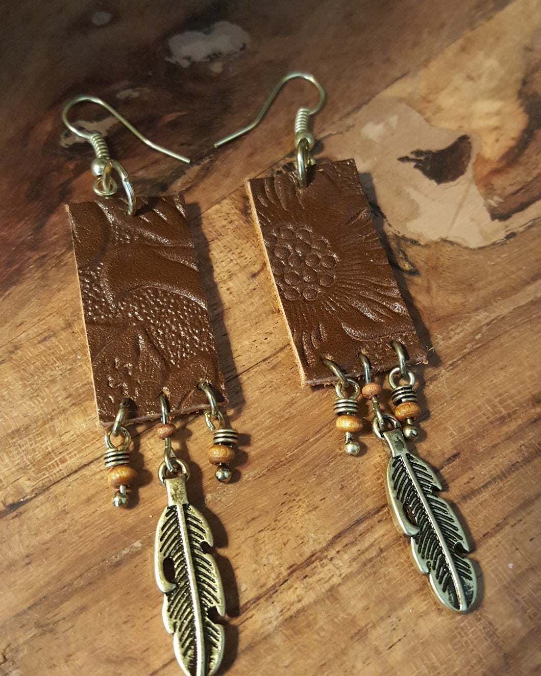 Genuine Leather Embossed Bar Earrings