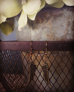 Angel Wing Earrings ~Bronze - Drop Style