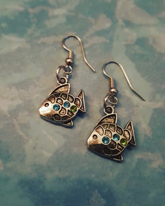 Fish Earrings With Tiny Gems