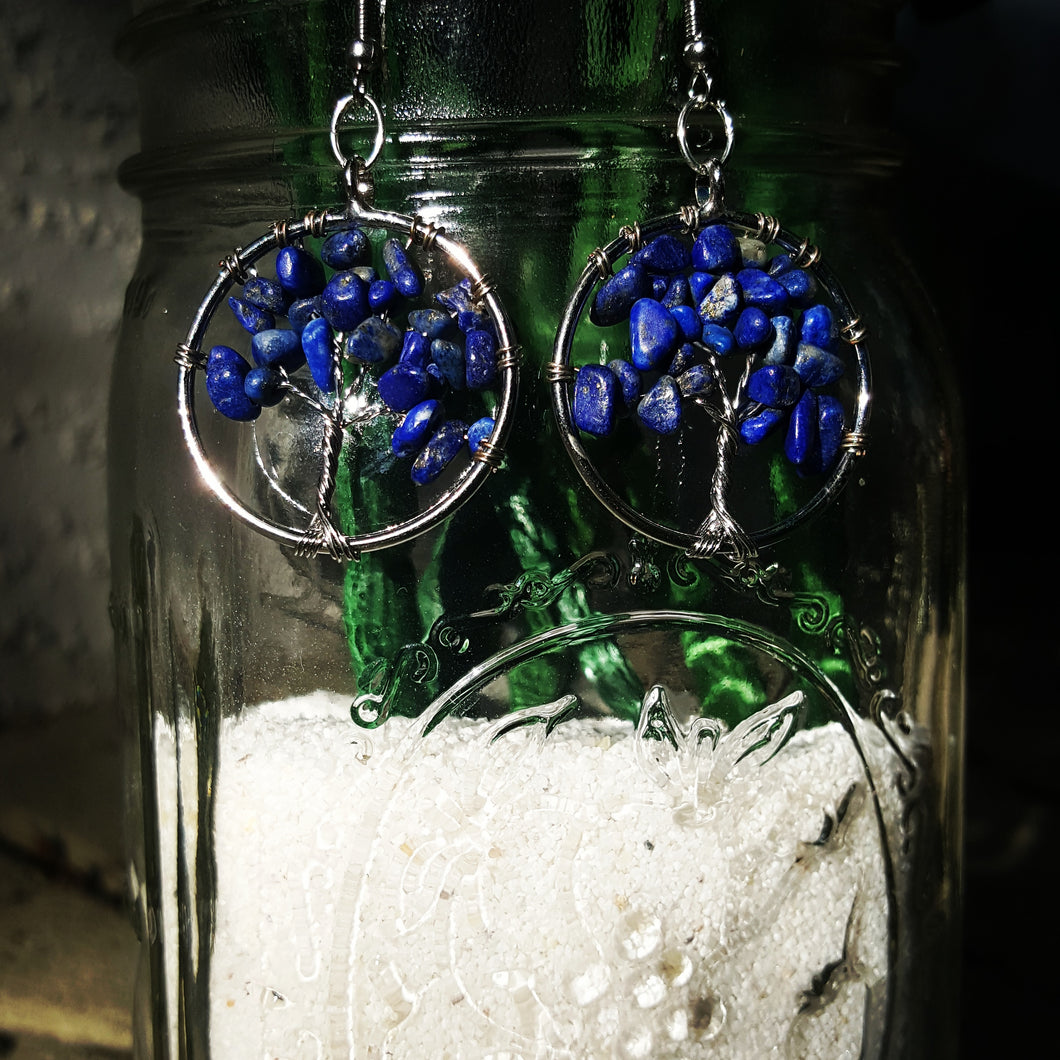 Tree Of Life~Earrings ( Lapis Lazuli Quartz Chakra~ Deep Ocean Blue)