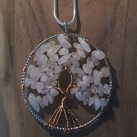 Rose Quartz ~Tree Of Life Pendant~18 Inch Chain