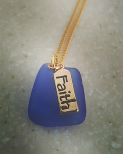 """Faith"" Cobalt Blue Authentic Sea Glass Pendant ~14k Gold Plated"