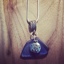 Load image into Gallery viewer, Cornflower Blue Seaglass Pendant~Sterling Silver Plated Chain~Sand Dollar Charm