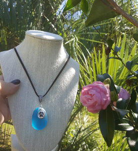 Custom~Authentic Turquoise Seaglass Pendant With Fur Friend Paw Print Charm