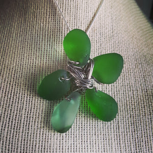 Custom~ Kelly Green Authentic Sea Glass Clover