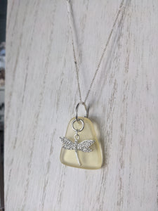 Rare Yellow Triangle Sea Glass Pendant With White Gemstone Encrusted Dragon Fly Charm