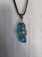 Load image into Gallery viewer, Turquoise Blue Cylinder Pendant With Silver Plated Octopus Charm