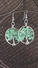 Load image into Gallery viewer, Tree Of Life Earrings~ Natural Green Aventurine Quartz Chakra ( Jade Green)