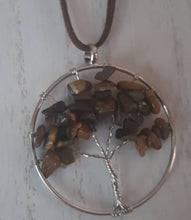 Load image into Gallery viewer, Tiger Stone~Wire Wrapped, Tree of Life Pendant~Chocolate Suede Chain