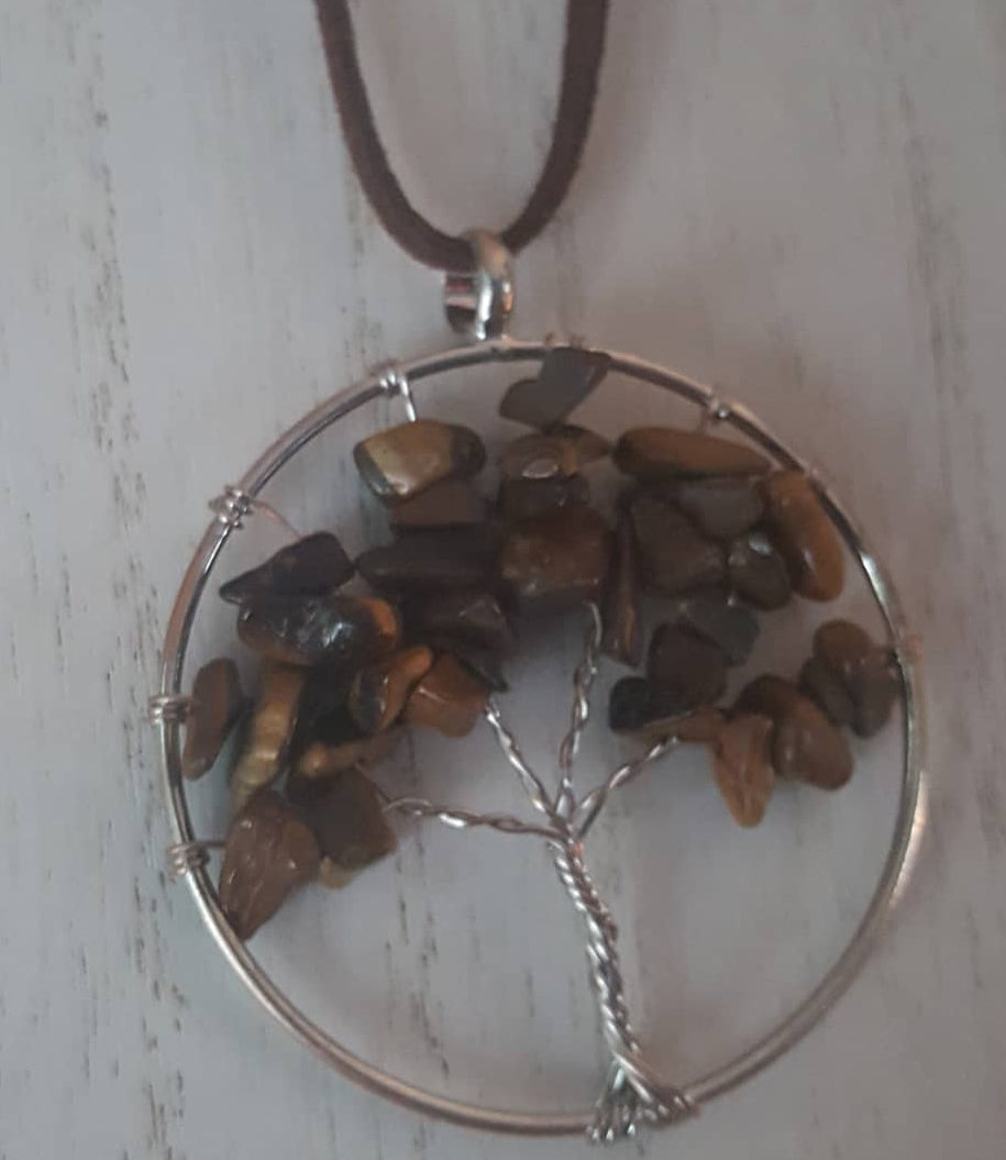 Tiger Stone~Wire Wrapped, Tree of Life Pendant~Chocolate Suede Chain