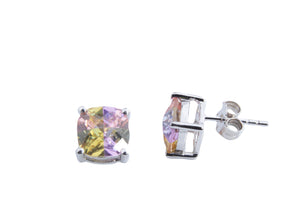 MEDIUM LUCKY STONE CUSHION EARRINGS 8 MM