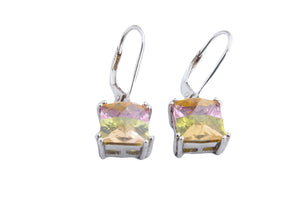 SMALL LUCKY STONE SQ DANGLE EARRINGS 8MM