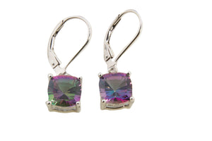SMALL MYSTIC FIRE GREEN QUARTZ CUSHION DANGLE EARRINGS
