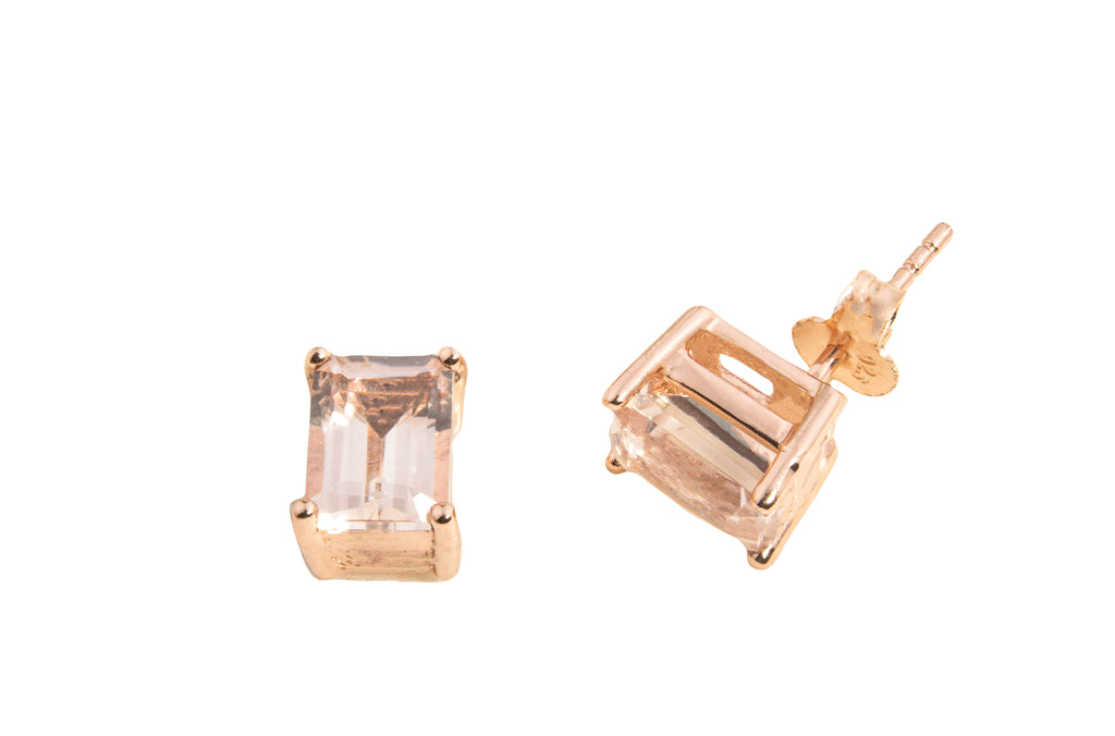 SMALL MORGANITE TOPAZ OCT EARRINGS 8X6