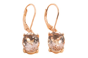 MEDIUM MORGANITE TOPAZ OVAL DANGLE EARRINGS 9X7