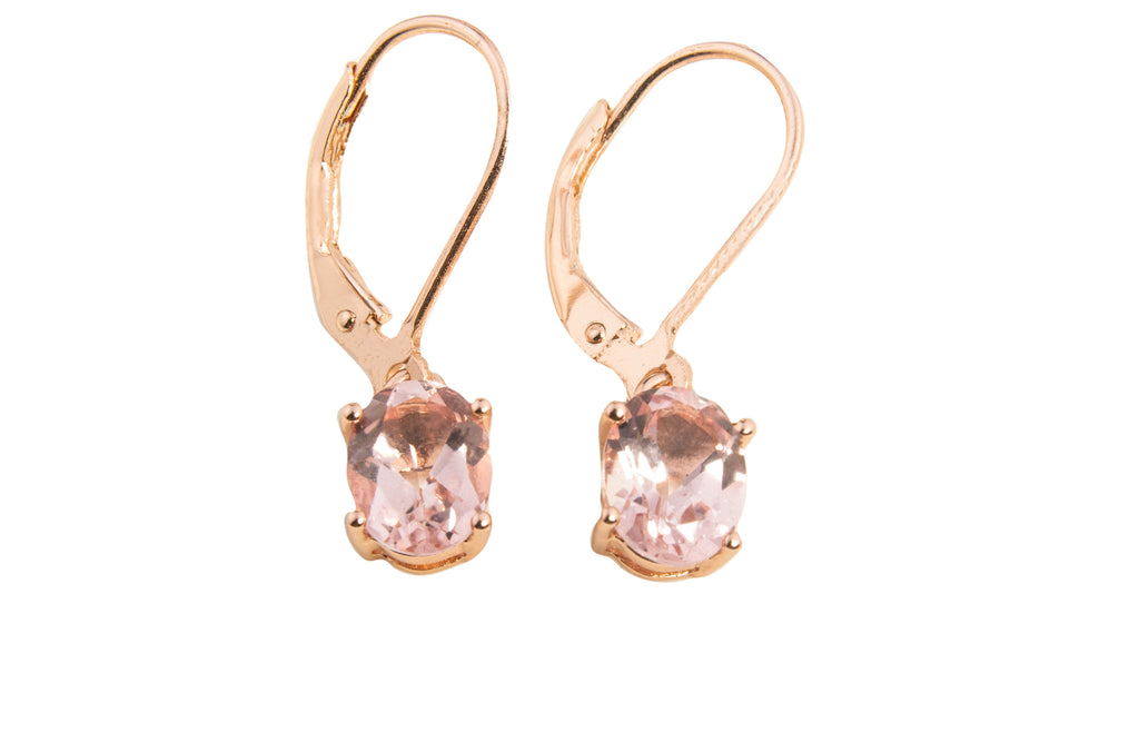 SMALL MORGANITE TOPAZ OVAL DANGLE EARRINGS 8X6