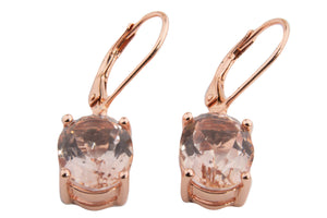 LARGE MORGANITE TOPAZ OVAL DANGLE EARRINGS 10X8