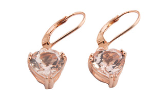 MEDIUM MORGANITE TOPAZ HEART DANGLE EARRINGS 9MM