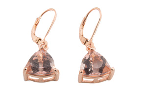 LARGE MORGANITE TOPAZ TRILLION DANGLE EARRINGS 10MM