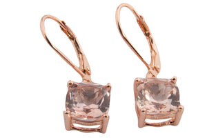 MEDIUM MORGANITE TOPAZ CUSHION DANGLE EARRINGS 8MM