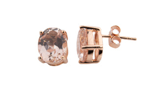 SMALL MORGANITE TOPAZ OVAL EARRINGS 8X6