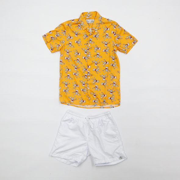 Rusty Rabbit Breakfast Shirt x White Shorts Combo