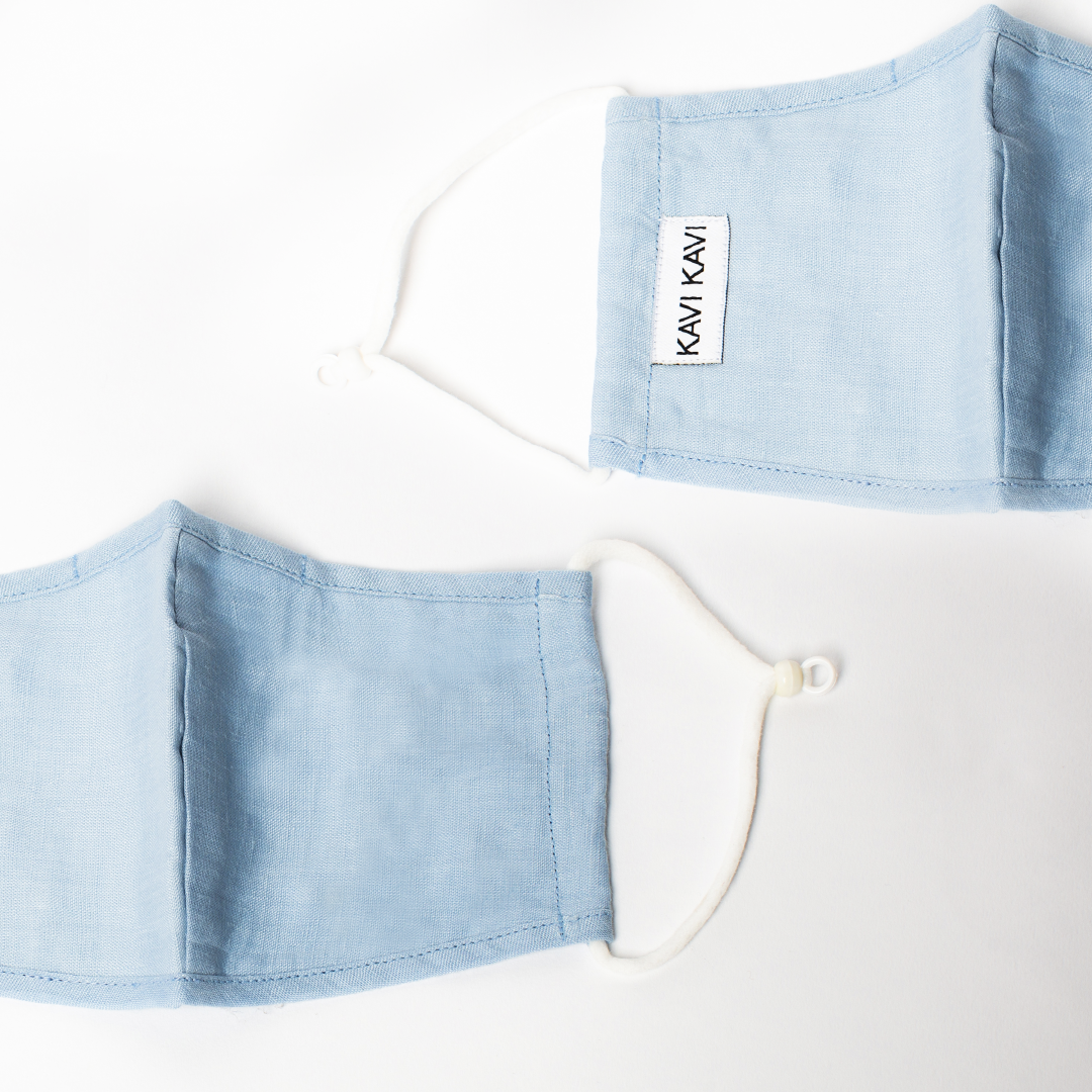 Baby Blue 3 Layer Linen Mask