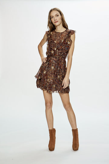 Love Sam Moroccan Paisley Ruffle Mini Dress