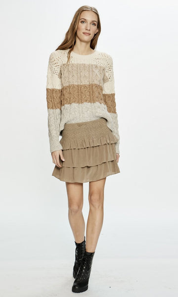 Love Sam Blixen Smocked Silk Skirt