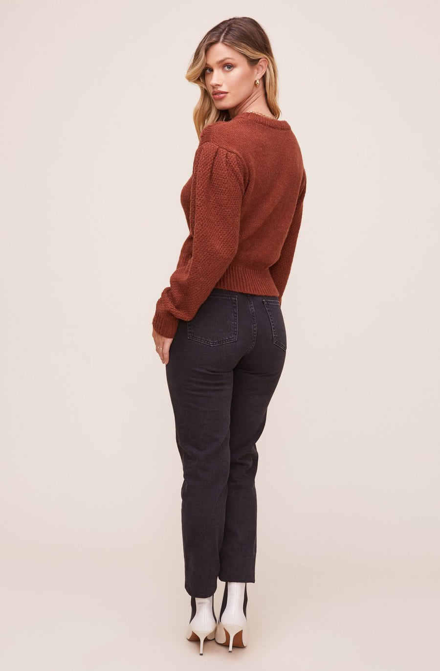 Astr the Label Samantha Sweater in Dark Nutmeg