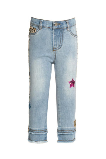 Baby Sara Leopard Denim Pants with Star Trim