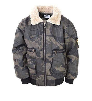 Lola + The Boys Camo Leather Bomber Jacket