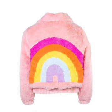 Lola + The Boys Rainbow Faux Fur Coat