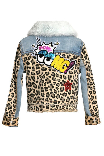 Baby Sara Leopard Denim Jacket