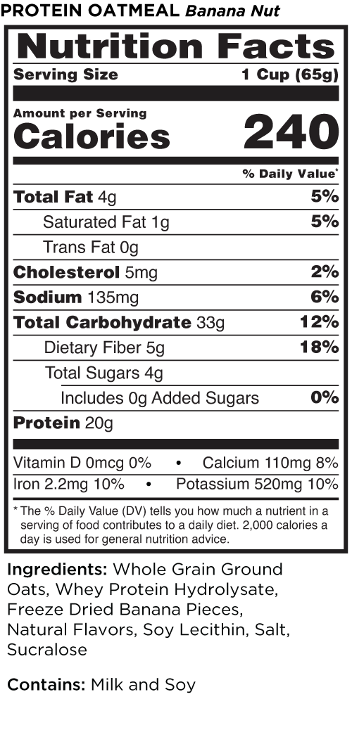 Banana nut nutrition facts