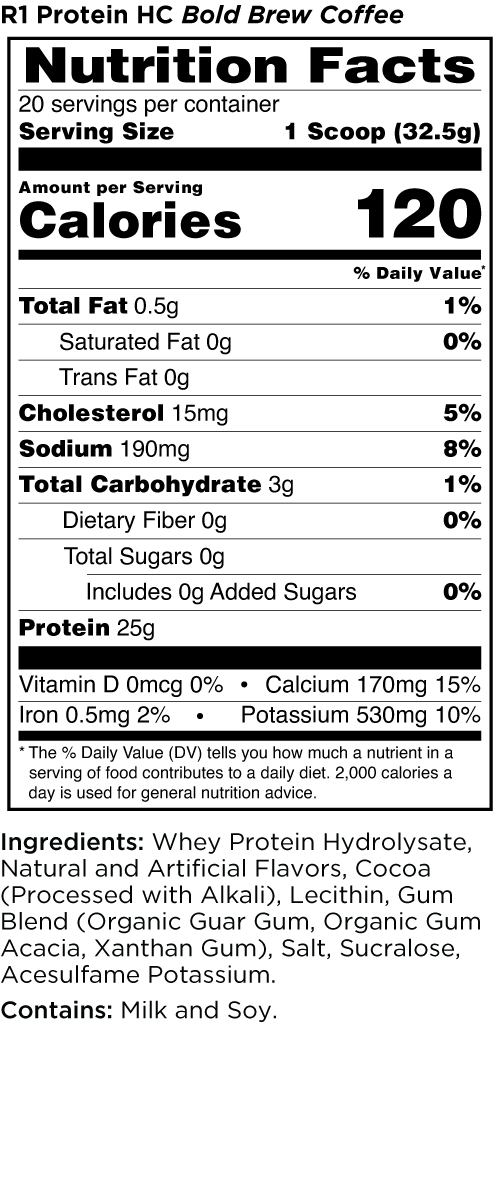 R1 Protein HC Bold Brew Coffee Nutrition Facts