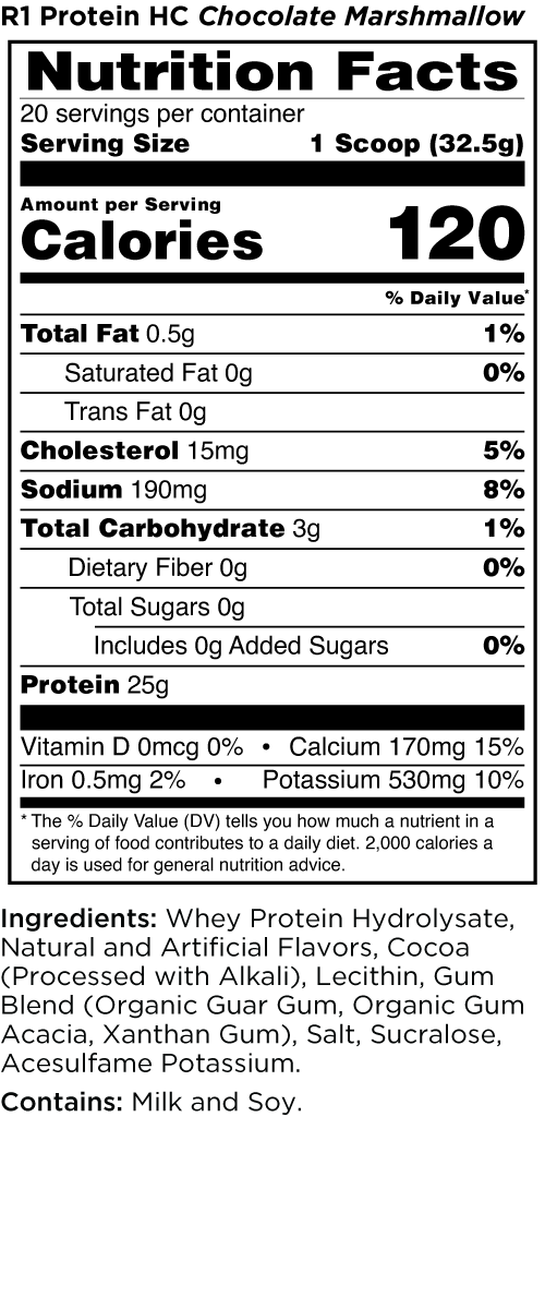 R1 Protein HC Chocolate Marshmallow Nutrition Facts
