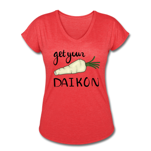 Get Your Daikon V-Neck - heather red